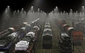 Denmark, rail yard, freight train, mist, lights, landscape