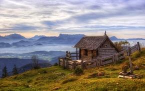landscape, mist, Austria, nature, cottage, sunrise