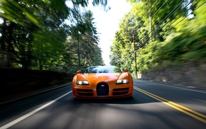 lights, motion blur, car, Bugatti Veyron Grand Sport Vitesse, road