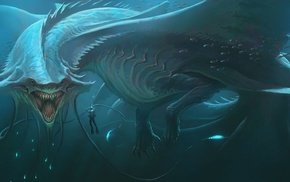 underwater, fantasy art, bubbles, men, fish, sea monsters