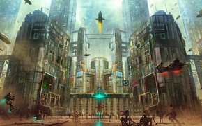 fantasy art, rockets, futuristic, flying, building, cyberpunk