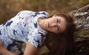 model, girl outdoors, brunette, blue eyes, dress, James Allen Stewart