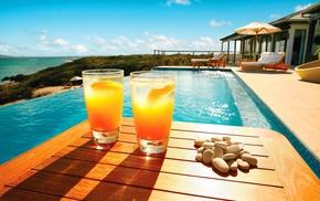 sea, swimming pool, shadow, wooden surface, orange, drinking glass
