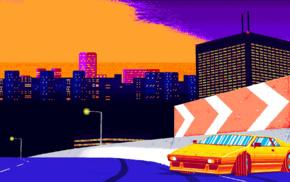 Freeway, Lamborghini, city, sunset, 8, bit