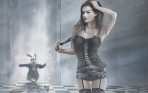 fantasy art, artwork, black lingerie, Anne Hathaway, Alice in Wonderland