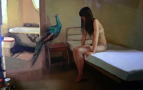 painting, artwork, bathtub, brunette, white underwear, birds