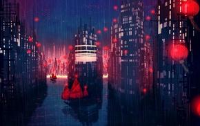 night, lantern, junk, city, rain