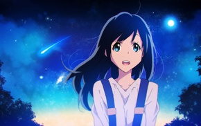 long hair, anime girls, black hair, night, blue eyes, original characters