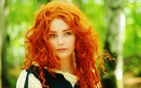 cosplay, curly hair, redhead, Brave, blurred, blue eyes