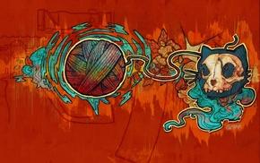 yarn, colorful, abstract, cat, skull, gun