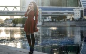 girl, looking away, stockings, red dress, black stockings, high heels