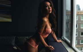 portrait, Janis True, lingerie, tattoo, girl