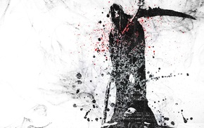 digital art, hoods, spooky, Grim Reaper, white background, paint splatter