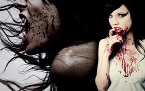 fangs, blood