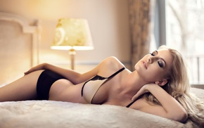 closed eyes, cleavage, model, in bed, black panties, blonde