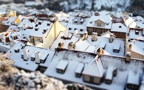 building, snow, tilt shift, house, rooftops