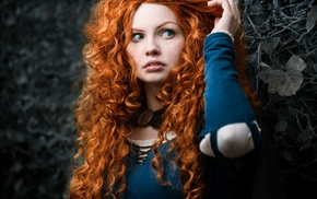 redhead, blue eyes, girl, Brave, selective coloring, curly hair