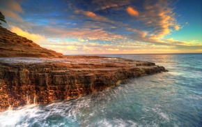 long exposure, cliff, sea, nature, sunset, clouds