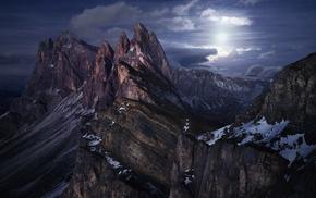 moonlight, snow, nature, moon, mountain, Alps