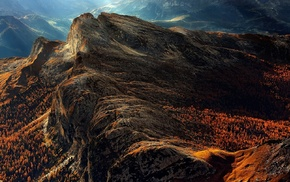 Dolomites mountains, landscape, forest, mist, nature, fall