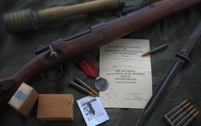 Mauser Kar98k, World War II, Bolt action rifle, mauser, gun, grenades
