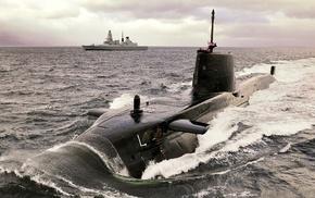Royal Navy, military, Destroyer, submarine, ship, navy