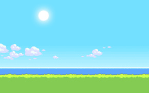 sky, grass, minimalism, mist, nature, simple background