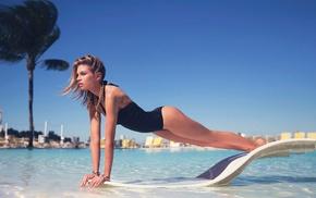 swimming pool, blonde, Stella Maxwell, black swimsuit, girl