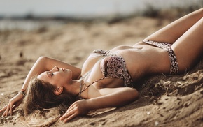 Evgeniy Reshetov, sideboob, girl, blonde, flat belly, piercing