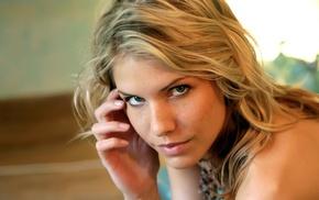 girl, face, model, freckles, green eyes, Iveta Vale