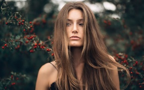 long hair, brunette, looking away, hair in face, portrait, windy