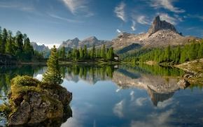 nature, island, water, rock, landscape, clouds