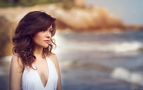 white clothing, wavy hair, portrait, coast, brunette, sea