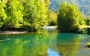 water, emerald, landscape, Chile, river, trees