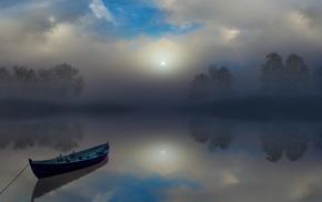 reflection, atmosphere, nature, boat, sunrise, trees