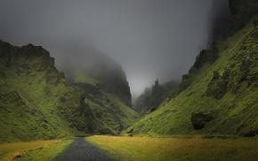 mist, landscape, mountain, grass, dark, dirt road