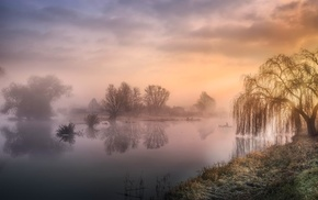 landscape, water, clouds, mist, reflection, sunrise
