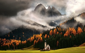 Italy, landscape, mountain, mist, trees, Alps