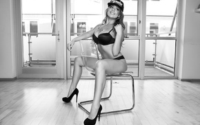 high heels, baseball caps, monochrome, smiling, black heels, chair