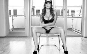 baseball caps, chair, sitting, high heels, spread legs, girl