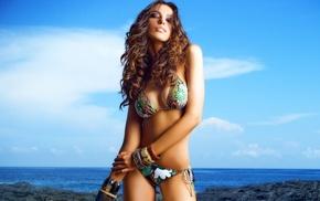 girl, curly hair, looking at viewer, Madalina Ghenea, swimwear, bracelets