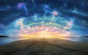 artwork, digital art, fantasy art, jellyfish