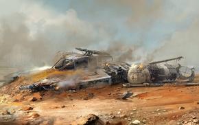 artwork, crash, science fiction, Y, Wing, Star Wars