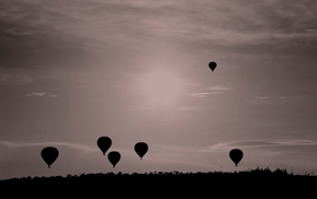 flying, monochrome, landscape, nature, sky, balloons