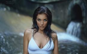 Gina Carla, cleavage, brunette, portrait, blue eyes, model