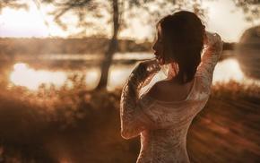 sunset, brunette, girl, model, arms up, white clothing