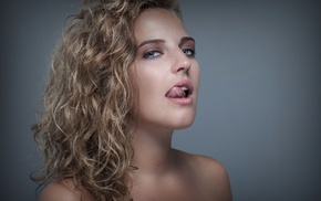 model, girl, blue eyes, wavy hair, tongues, freckles