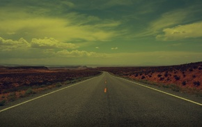 desert, empty, filter, clouds, road, highway