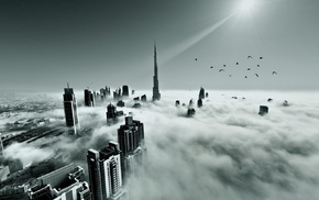 flying, landscape, Dubai, monochrome, mist, architecture