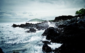 rock, clouds, sea, water, overcast, waves